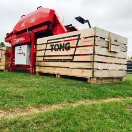 Tong demonstrates best selling EasyFill Bin Filler at Potato Europe